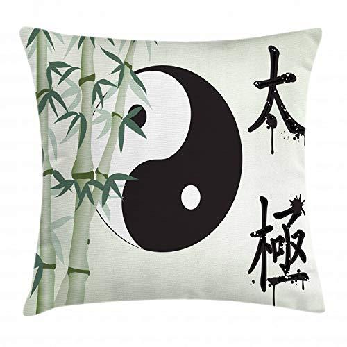 ABAKUHAUS Yin Yang Funda para Almohada, Taiji Zen Unidad, Apto para Uso en Interiores y Exteriores Colores Firmes, 45 x 45 cm, Multicolor