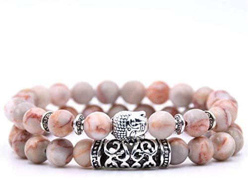 GIAOYAO Pulsera de Piedra Mujer, 7 Chakra Piedra Natural Blanco Jade Bangle Brazalete Elástico Yoga Lucky Bracelet Silver Buddha Joyería para Damas Regalo de Pareja de Navidad