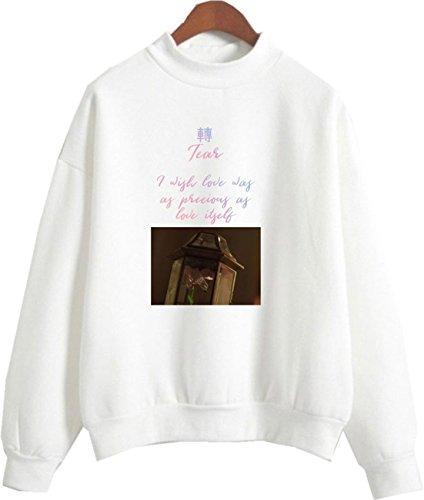 SERAPHY Unisex Rollkragenpullover Fake Love Sweatshirt für Army Suga Jimin Jin Jung Jook J-Hope Rap-Monster V 8142 Weiß L