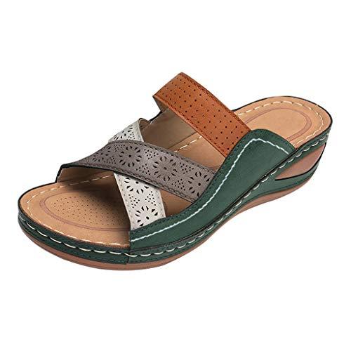 sandali donna tacco ciabatt donna ciabatte donna espadrillas pantofole donna ciabatte con fiori ciabatte estive pantofole gomma con pelo scarpe donna estive sandali (A40-Green,39)
