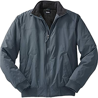 KingSize Men's Big & Tall Fleece-Lined Bomber Jacket - Big - 7XL, Carbon by KingSize