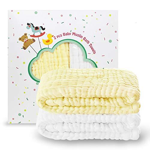 Umiin Baby-Badetücher, 2 Stück Musselin Baby-Handtücher mit 1 kostenloser Wäsche Beutel, multifunktional als Babybad-Handtuch, Decke, windelwechsel Polster, Registrierung-Geschenk, 105cm x 105cm