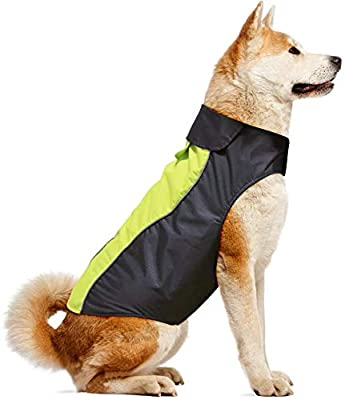 Dog Raincoat Waterproof Windproof Dog Coat Jacket Reflective Pet Vest with Soft Fleece Lining Cold Weather Dog Apparel Clothing for Small Medium Large Dogs (XL, Green)