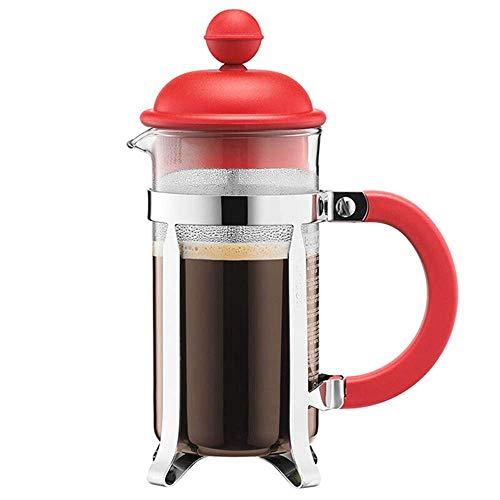 DONDOW Prasa do kawy Urządzenia kuchenne szklane ręcznie punch ekspres do kawy gospodarstwa domowe małe przenośne filtr czajnik do kawy Kompatybilny z domu ekspres do kawy (kolor: czerwony, rozmiar: 3
