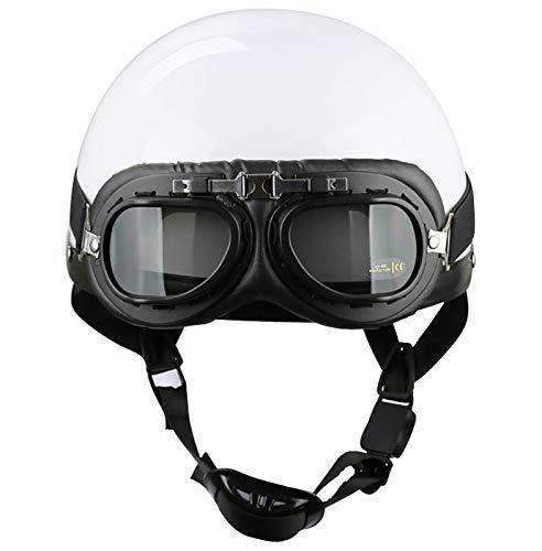 Casco con gafas moto vintage,Cascos motocicleta para hombre/mujer,Casco semi integral jet para bicicleta, helicóptero, ciclomotor, scooter, ATV, ECE certificadohat white,S=(55~56CM)