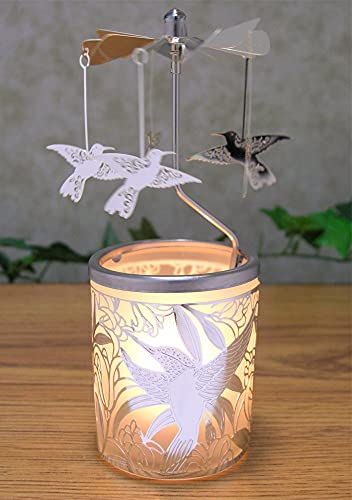 Glass Candle Holder With Metal Spinning Humming Birds
