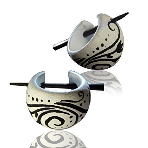 CHICNET Spiralmuster Holzcreolen weiß schwarz Pin-Ohrringe Pin-Creolen Holz Horn Pin handbemalt 16 mm