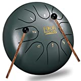 FOUR UNCLES Steel Tongue Drum, Handpan Drum Percussion Instrument Panda Drum C Key with Bag Music Book and Mallets for Meditation Entertainment Musical Education Concert Yoga (6 inch, Green)