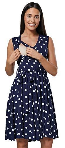 HAPPY MAMA. Damen Umstands Stillkleid Lagendesign V-Ausschnitt Empire-Taille. 078p (Marinenblau mit Punkten, 36, S)
