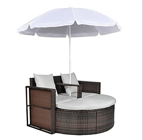2 Divano da giardino per esterno con cuscini lavapavimenti staccabili e ombrellone abbinati al bianco installazione semplice-marrone e bianco_Stati Uniti