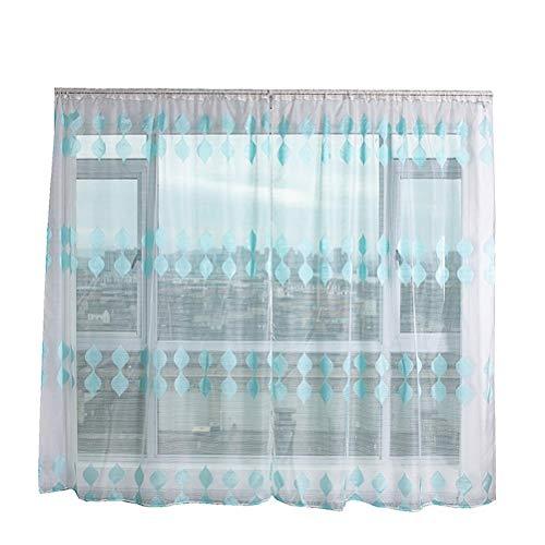 Koojawind Einfacher Voile-Vorhang, TüLl-Gardine Mit Transparenten VorhäNgen, Volant-Stoff, Schlafzimmervorhang Mit WeißEn Organza-VorhäNgen - 2 Paneele