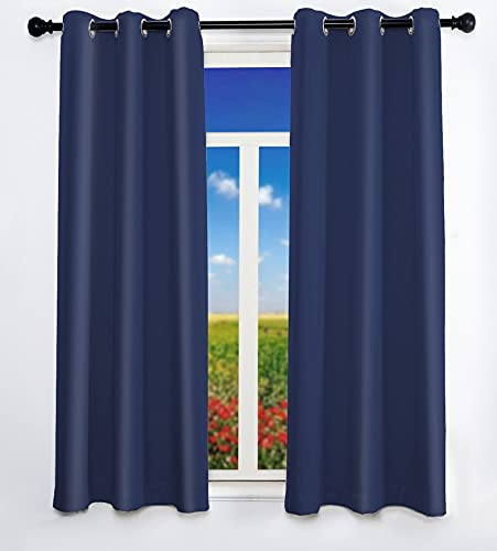 2 Panels Set Blackout Bedroom Living Room Curtains 63 inch Length Navy Blue Room Darkening Curtains Thermal Insulated Curtains with 6 Grommets 52 inch Width