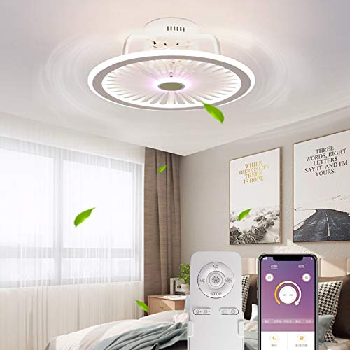 50 cm Ceiling Fan with Light Invisible App and Remote Control Mute...