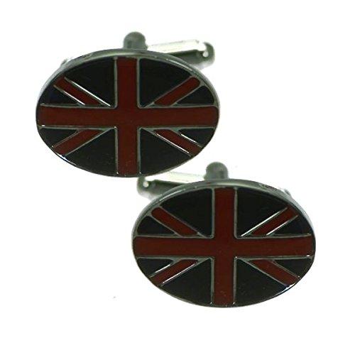 Union Jack Boutons de Manchettes Noir Argent