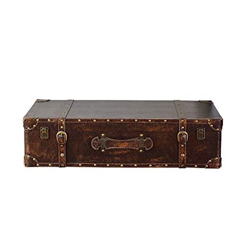 Keliour-bag Koffer/Koffer im Vintage-Stil Weinlese-dekorative Lagerung Trunk-Aufbewahrungsbehälter New Tatami Couchtisch Kaffee Retro Storage Table (Farbe: braun) für Dekoration zeigt Kunsthandwerk