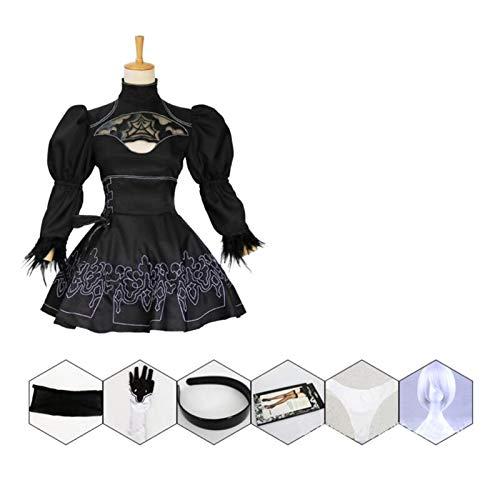 MAXIAOTONG China Tamaño Nier Autómatas Yorha 2B Traje Cosplay Anime Vestido Negro Mujeres Traje de Disfraz Fiesta de Disfraces de Set de fantasía niñas (Color : with Wig, Size : XXL)