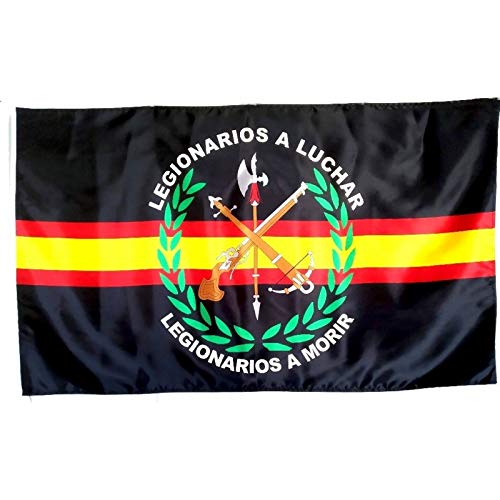 Bandera de España de Legion Negro 150 x 90 cm Satén Durabol