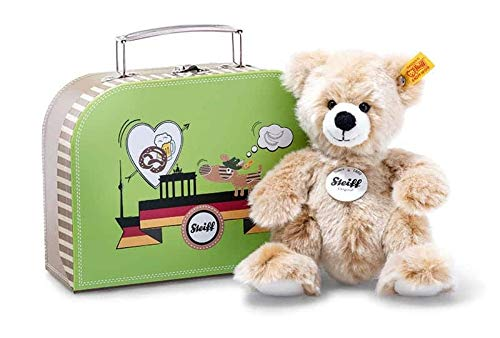 Steiff 674426 Brown Teddy Bear Soft Toy Plush 7' in Green Suitcase