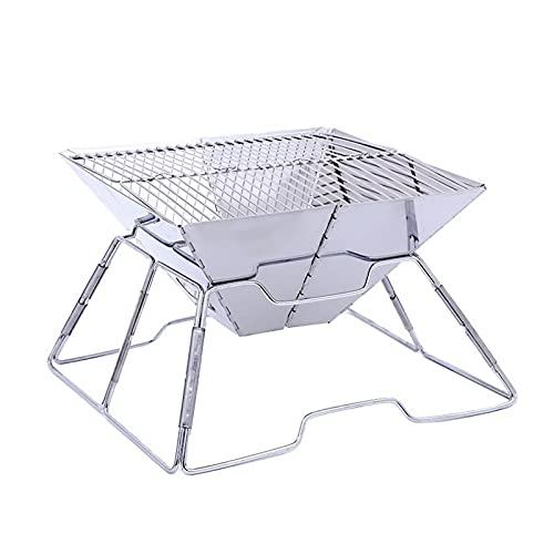YNLRY Portátil de acero inoxidable barbacoa parrilla antiadherente superficie plegable barbacoa parrilla mesa camping al aire libre jardín terraza picnic herramienta