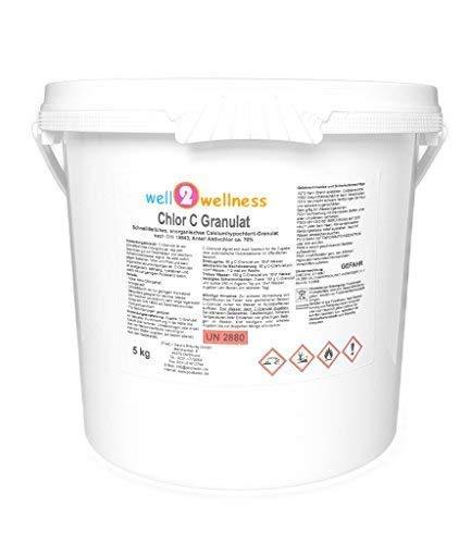 well2wellness Chlor C Granulat - anorganisches Chlorgranulat mit ca. 70% Aktivchlor speziell für weiches Wasser 5,0 kg (5 x 1kg)