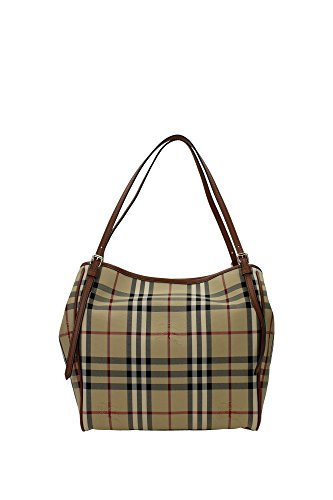 Burberry Women's 'Small Canter' Horseferry Check Tote Bag with Equestrian Saddle Straps Honey Tan