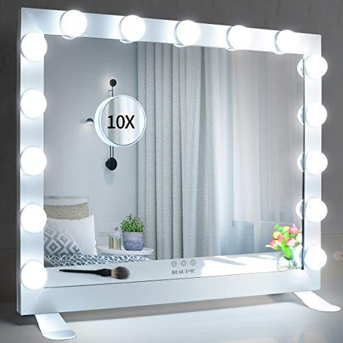 WONSTART Hollywood Espejo con luces. Espejo de tocador iluminado con 15 luces LED para tocador, espejo de pie o montado en la pared. Iluminación de 3 colores (68 x 56 cm), color plateado
