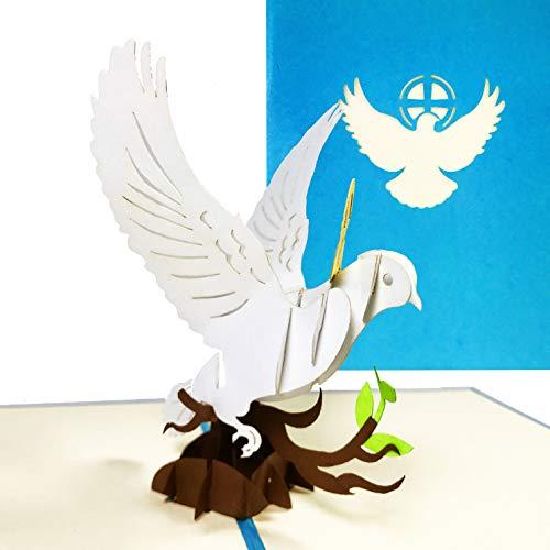 Einladungs-Karte Kommunion, Konfirmation, Taufe - 3D Pop-Up Glückwunschkarte, Taufkarte für Mädchen und Junge