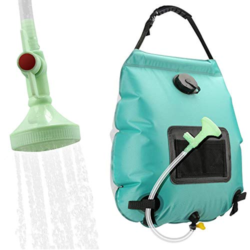 KIPIDA Solar Shower Bag,5 gallons/20L Solar Heating Camping Shower Bag with Removable Hose and On-Off Switchable Shower Head for Camping Beach Swimming Outdoor Traveling Hiking (Cyan)