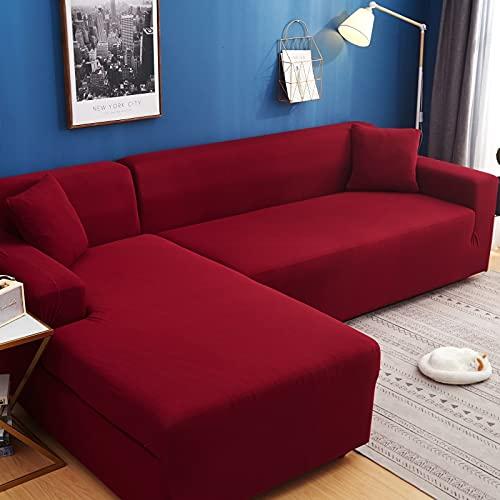 WXQY Funda de sofá de Color sólido de Alta Elasticidad sofá Moderno Chaise Longue Esquina en Forma de L Funda de sofá elástica Funda de sofá A3 2 plazas