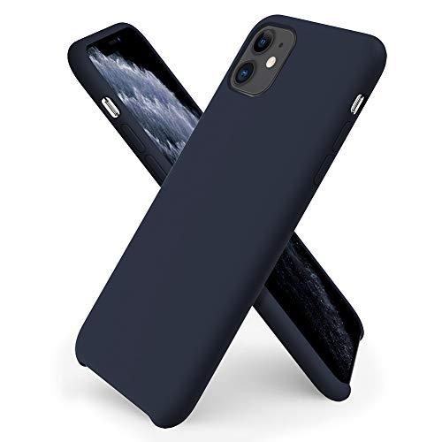 ORNARTO Coque iPhone 11 en Silicone, Case Fine en Caoutchouc Liquid Silicone Cover Protection Bumper Anti-Choc Housse Étui pour iPhone 11 (2019) 6,1 Pouces-Bleu Nuit