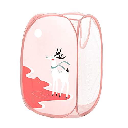 royalr Cuarto de baño Plegable Cesta de lavadero de Dibujos Animados Cesta almacenaje de la Ropa Sucia Clasificación Cesta de Malla de Juguetes Ropa Sucia Caja de Almacenamiento