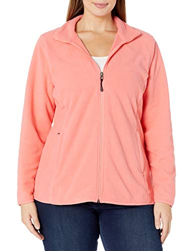 Amazon Essentials Women's Plus Size Full-Zip Polar Fleece Jacket, Bright Coral, 5X
