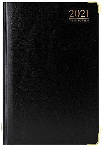 2018 5-Week Display Padded hardcover diary with gold-plated edge, metal corners - black