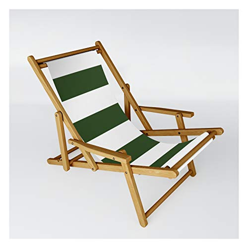 Large Dark Forest Green and White Cabana Tent Stripes by Podartist on Patio Sling Chair - One Size
