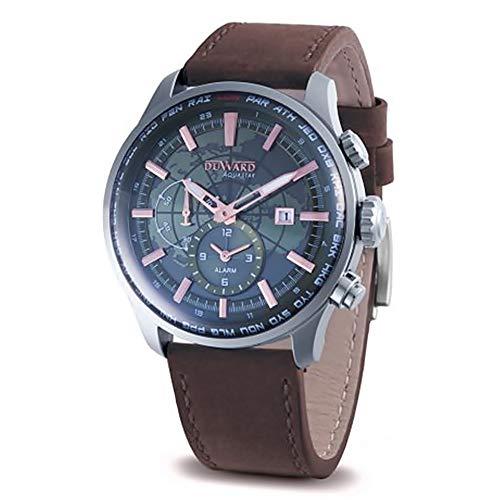 Duward aquastar World time Mens Analog Japanese Automatic Watch with Leather Bracelet D85704.03