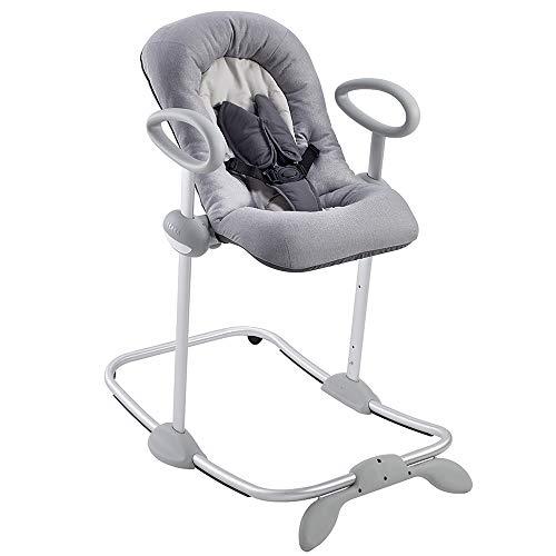 Béaba - Up & Down III - Babywippe - Wippe für Babys und Kleinkinder - Höhenverstellbar - Schaukelfunktion und 4-fache Höhenverstellung - Für Mädchen und Jungen - Ergonomisch und sicher - grau