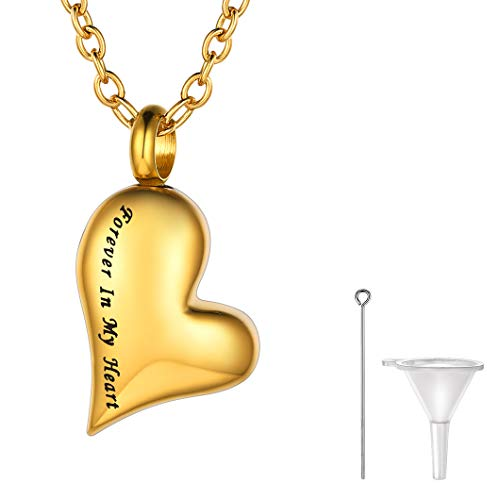 Richsteel Siempre en mi Corazón Guardapelo Personalizable Color Oro Colgantes para Cenizas Perfume 22 Pulgadas Collar de Acero Inoxidable con baño de Oro Colgante para Mujer Hombre
