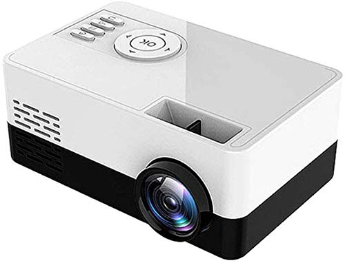 Mini projector LED Video Projector 1500 Lumens support HD 1080P Portable projector Mini Home Cinema 30000 hours lifetime The LEDs Compatible with HDMI / USB / TF / VGA / AV, Blue,White