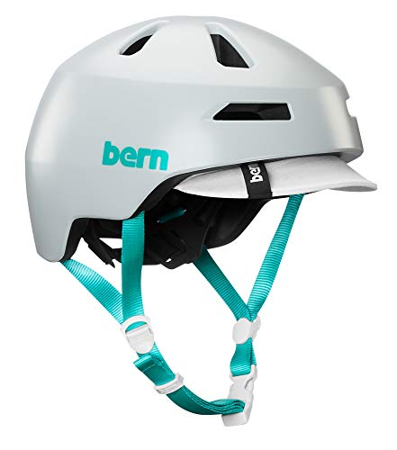 Bern Brentwood 2.0 Satin Cool Grey Visor Helm, weiß-türkis, L