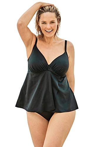 Swimsuits For All Women's Plus Size Bra-Size Wrap Tankini Top - 38 DDD, Black