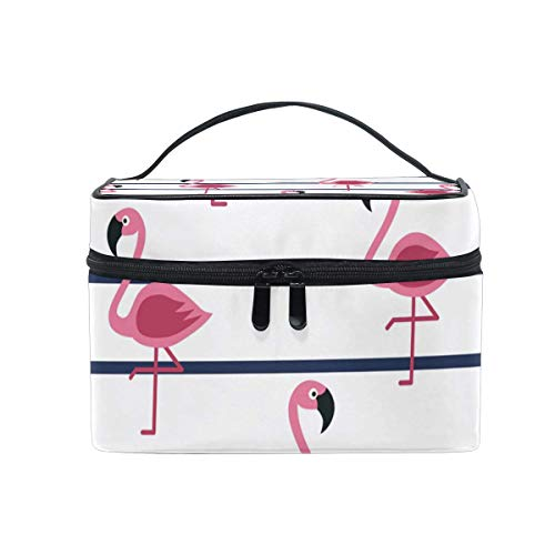 Vanity et Trousses à Maquillage Makeup Cosmetic Bag Tropical Flamingos Marine Stripes Portable Travel Train Case Toiletry Bags Organizer Multifunction Storage Travel Daily Carry