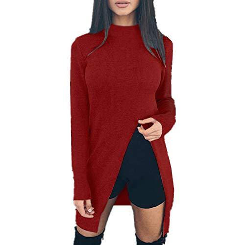 DOTBUY Damen Sweatshirt, Pullover O-Ausschnitt Sweater Frauen Oberteile Langarm Shirt Jumper Strickpullover Unregelmäßiger Tops Strickpulli Herbst und Winter Schlank (S, Rotwein)
