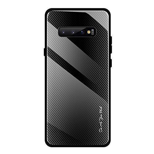 Shazikaihui Samsung Galaxy S10 Hülle, Gehärtetes Glas Zurück mit Weichem TPU Silikon Rahmen Handyhülle Gradient Case Schutzhülle Kompatibel für Samsung Galaxy S10 (schwarz)