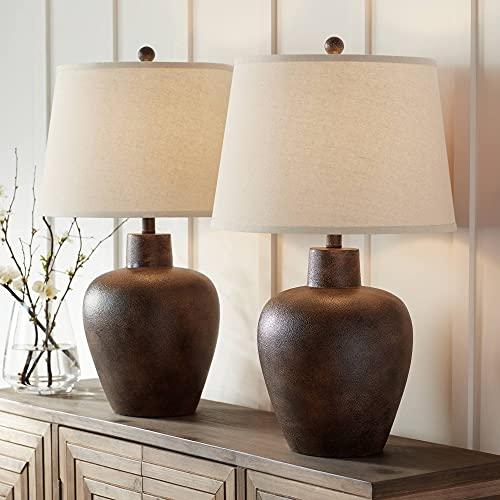 Glenn Farmhouse Rustic Southwestern Table Lamps Set of 2 Dark Terra Cotta Tapered Fabric Drum Shade...