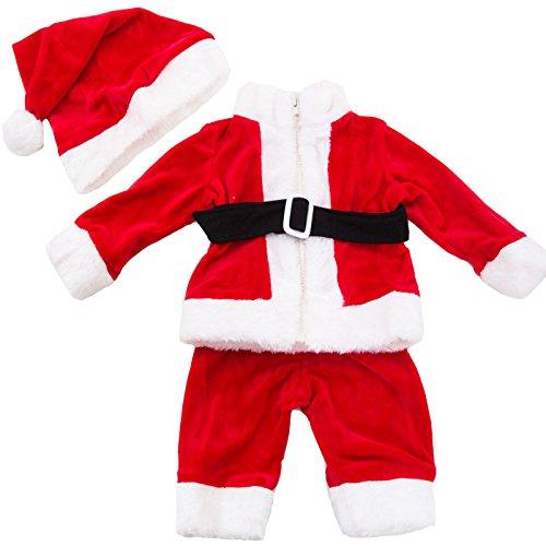 Toocool - Completo Bambino Neonato Tutina Vestitino Babbo Natale Cappellino Nuovo FK828 [6/9,Rosso]