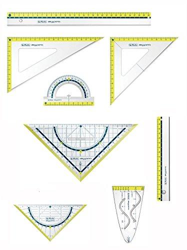 Herlitz Zeichengarnitur 8tlg / Dreiecke, Lineale, Winkelmesser, Parabel / lemon