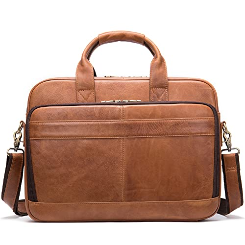 Hombre Bandolera Maletín Portatil Bolsa Mensajero, Maletín de laptop de cuero genuino de los hombres Bolsa de mensajero del hombro bolsa de negocios bolso de la computadora de la bolsa del bolso de la