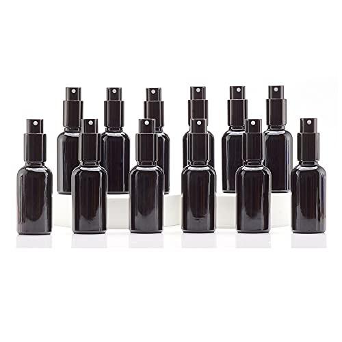 Yizhao Negro Pulverizador Cristal 30ml, Glass Spray Bottles con [Atomizador],para Aceites Esenciales, Mezclas de Aromaterapia, Perfumes, Masajes, Líquidos Químicos, Farmacéutico– 12Pcs