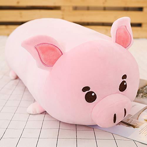 Pig Plush Hugging Pillow,Soft Piggy Stuffed Animal Piglet Cylindrical Roll Neck Pillow Body Pillow 23.6'