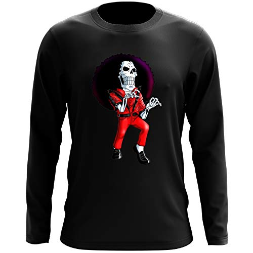 T-Shirt à Manches Longues Noir One Piece parodique Brook : Thriller !! (Parodie One Piece)